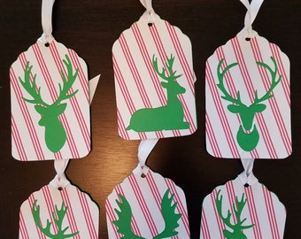 Reindeer Holiday Gift Tags Set of 6 Set #01