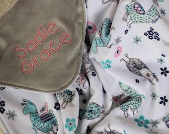 Minky Baby Blanket, Llama Baby Blanket, Personalized Baby Girl Blanket with Name, Minky Llama Crib Blanket, Personalized Baby Gift, Lovie