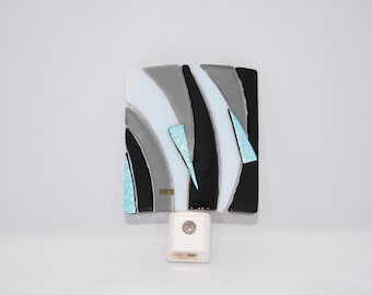 Fused Glass Night Light, Black and Grey with Dichroic