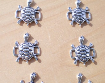 Silver Turtle Connectors, Set of 7, Tortoise Connectors, Buckle Sliders, Jewelry Findings