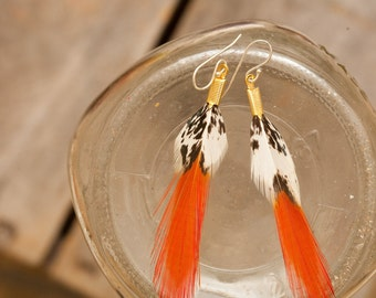 a new day - orange tipped feather earrings