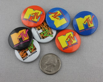 Vintage MTV Pin 1980s Choice of Color! NO BLUE