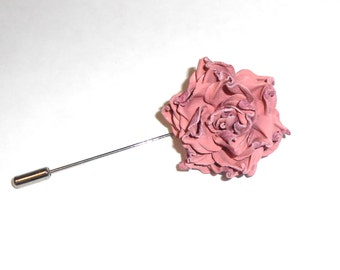 Leather Flower Brooch, leather Jewelry, Leather Brooch, Flower Brooch, Pink Brooch, Rose Brooch, Mini Brooch, Boutonniere, Lapel Pin, Brooch