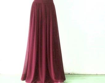 Wine Maxi Skirt. Wine Bridesmaid Skirt. Long Evening Skirt. Chiffon Floor Length Skirt.