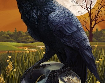 Raven and Moon - Savannah, GA (Art Prints available in multiple sizes)