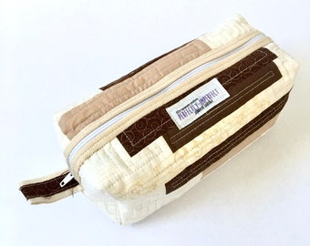 Brown & Cream Quilted Toiletry Bag