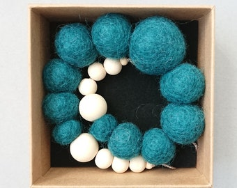 Felt Ball Necklace // Chunky Necklace // Felted Wool Necklace // Dark Teal Necklace // Wool Bead Necklace // Statement Jewellery