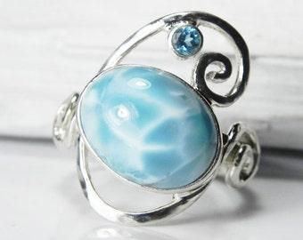 Larimar Ring Sterling Silver - Larimar Blue Topaz Ring - Swirl Ring - Larimar Jewelry - Blue Topaz Jewelry - Ocean Blue - Beach Jewelry