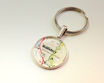 NEW Vintage Map Keychain fob- Colleges and Universities - perfect Graduation gift