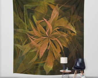Elements, Earth Wall Tapestry, Large Flower Wall Art, Flower, Dorm, office, Brown Green, Modern Decor,Nature,Abstract Decor,Contemporary