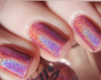"Nail polish - ""Prime Time""  A coral/salmon pink strong holo."