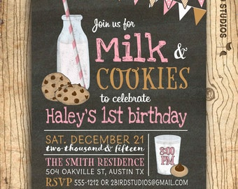 Cookies and Milk invitation -  Milk and cookies birthday party -  - Milk & cookies party - Chalkboard girls birthday party invitation
