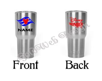 Disney Cruise Line Inspired RTIC, Yeti like Stainless Tumbler Cup 30 oz., Fish Extender Gift