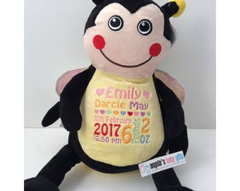 Personalised Bumble Bee, Embroidered Birthday,Christening gift,personalized Cubbies ,Custom Girl gift
