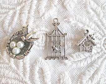 3 Assorted Shabby Look Silver Bird Pearl Nest Charms Jewelry findings for Crafts Jewelry Scrapbooking