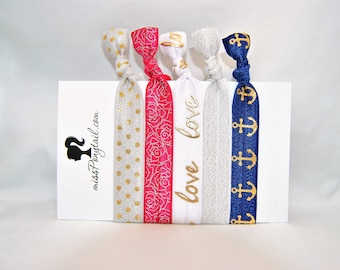 Gold Foil Hair Ties, Anchors, Love, Dots, Elastic Hair Ties, Hair Accessories, Ribbon, Ponytail Holder, Knotted Hair Ties, MissPonytail FOE