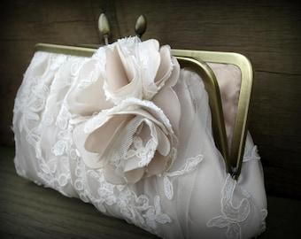 Blush Bridal Clutch, Ivory Wedding Clutch, Lace Clutch, White Bridal Clutch, Blush Purse {Couture Lace Gathered Pleat with Blossom}