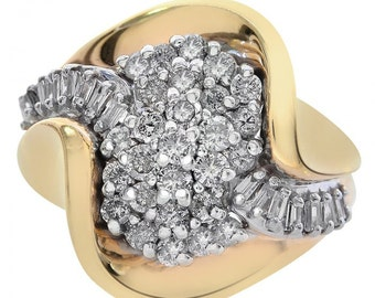 1.00 Carat Diamond Cluster Twist Ring 14K Two Tone Gold