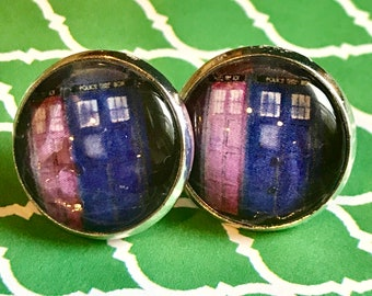 Tardis Dr. Who glass cabochon earrings - 16mm