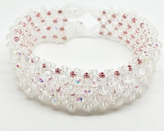Clear Crystal Netted Cuff Bracelet