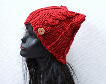 Hand Knit Funky Cable Cat Beanie  - Red Wool Cat Hat