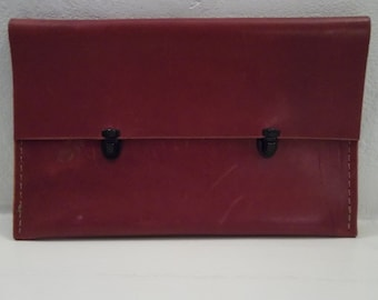 Deep Red Leather Clutch with Black Metal Clasps made by Rad Juli