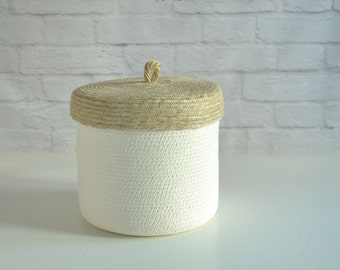 Home storage box for a jute rustic decor or as a new home gift box //Nursery decor box toys small basket //Box with lid // Kitchen box