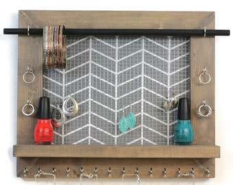 Jewelry Organizer - Gray Chevron Hanging Jewelry Display