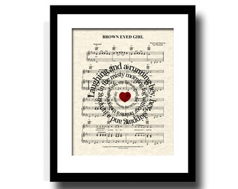 Brown Eyed Girl by Van Morrison Song Lyric Sheet Music Art Print, Custom Gift, Name and Date, Nursery, Wedding, Anniversary