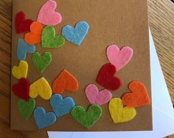 Jumbled rainbow heart card