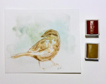 Original Sparrow Painting