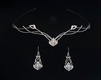 Elven Sterling silver Set with moonstones - Made to order - circlet and earrings, bridal circlet, wedding medieval headpiece
