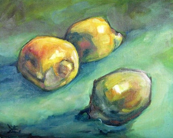 Three Lemons. Oil Painting, Vermont country art, ARCHIVAL PRINT of original painting & Free Shipping!