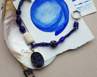 Macaw Blue Watercolor Bracelet