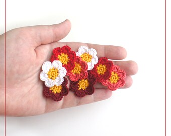 Crochet Applique Flowers red-pink (set of 8), crocheted flowers for scrapbooking, crochet small flowers, flower applique patches