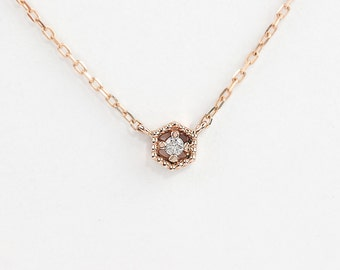 14k rose gold diamond necklace, diamond floating necklace, tiny diamond necklace, hexagon necklace, rose gold, white gold