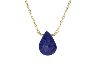 Drop Shaped Faceted Lapis Lazuli Solitaire Necklace