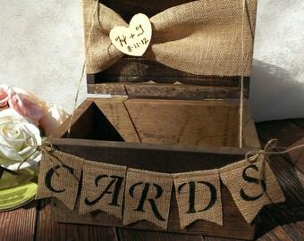 burlap banner burlap cards banner country wedding card box wood