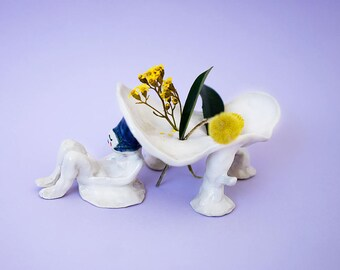 Sculpture Waiting Incense Holder Ceramic, Sculpture Waiting Flower Holder Hand-Built Pottery