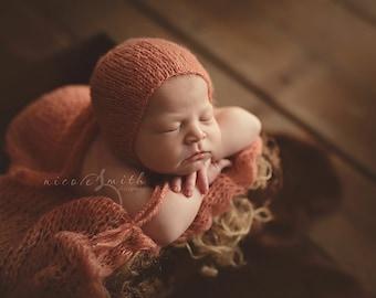 Simply Newborn Bonnet and Pure Naturals Newborn Stretch Knit Wrap in Dreamy Summer Sun Peachy Coral Orange