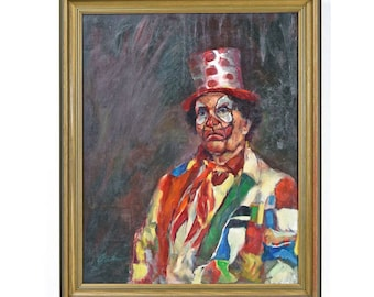 Clown Portrait Oil Painting - FREE SHIPPING