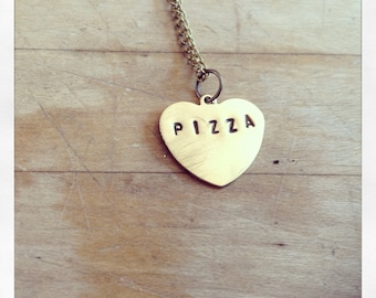 Pizza Heart Stamped Necklace