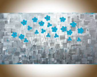 "Grey Turquoise flowers art large wall art painting on canvas original artwork home decor wall decor ""After the Rain II""by QIQIGallery"