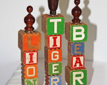 Wood 'LIONS, TIGERS, BEARS' Decoration / Sign / Finial made from Vintage Children's Toy Building Blocks - Repurposed