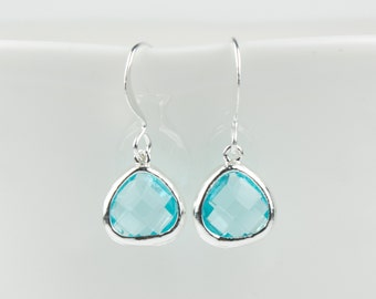 Tiny Aquamarine Silver Earrings, March Birthstone Aquamarine Silver Earrings, March Birthstone Silver Earrings, Bridesmaid Earrings