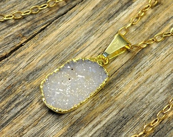Memorial Day Sale - Small Druzy Necklace, Small Druzy Pendant, Druzy Jewelry, Gold Druzy Necklace, Gold Druzy Pendant, Snow Druzy Necklace,