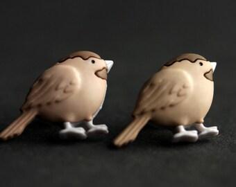 Vogelohrringe. Meise Ohrringe. Braune Vogelohrringe. Bronze Ohrringe. Ohrringe. Vogel-Schmuck. Naturschmuck. Handgefertigte Ohrringe.