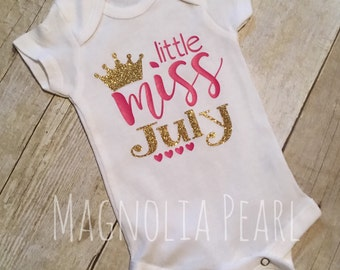 Little Miss Month Bodysuit Shirt - January February March April May June July August September October November December Coming Home outfit