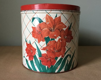 Red Amaryllis Large Kitchen Tin Canister Vintage Floral Tin
