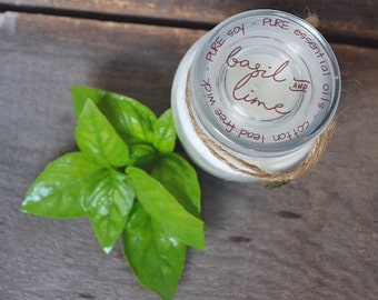 Small Basil Candle - Lime & Basil Essential Oil Candle - Soy Candles - Jar Candles - Aromatherapy - Natural Candles - Hand Poured